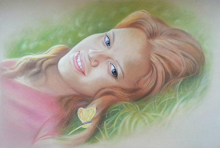 Настоящий портрет пастелью для любимой девушки в Твери, просто и со вкусом!