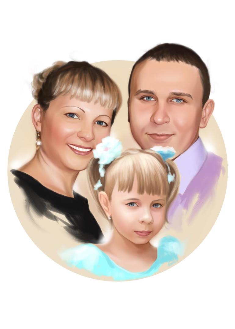 Семейный портрет по фото на холсте в Твери — правильный подарок!