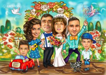 Шарж по фото на годовщину свадьбы на заказ в Твери…